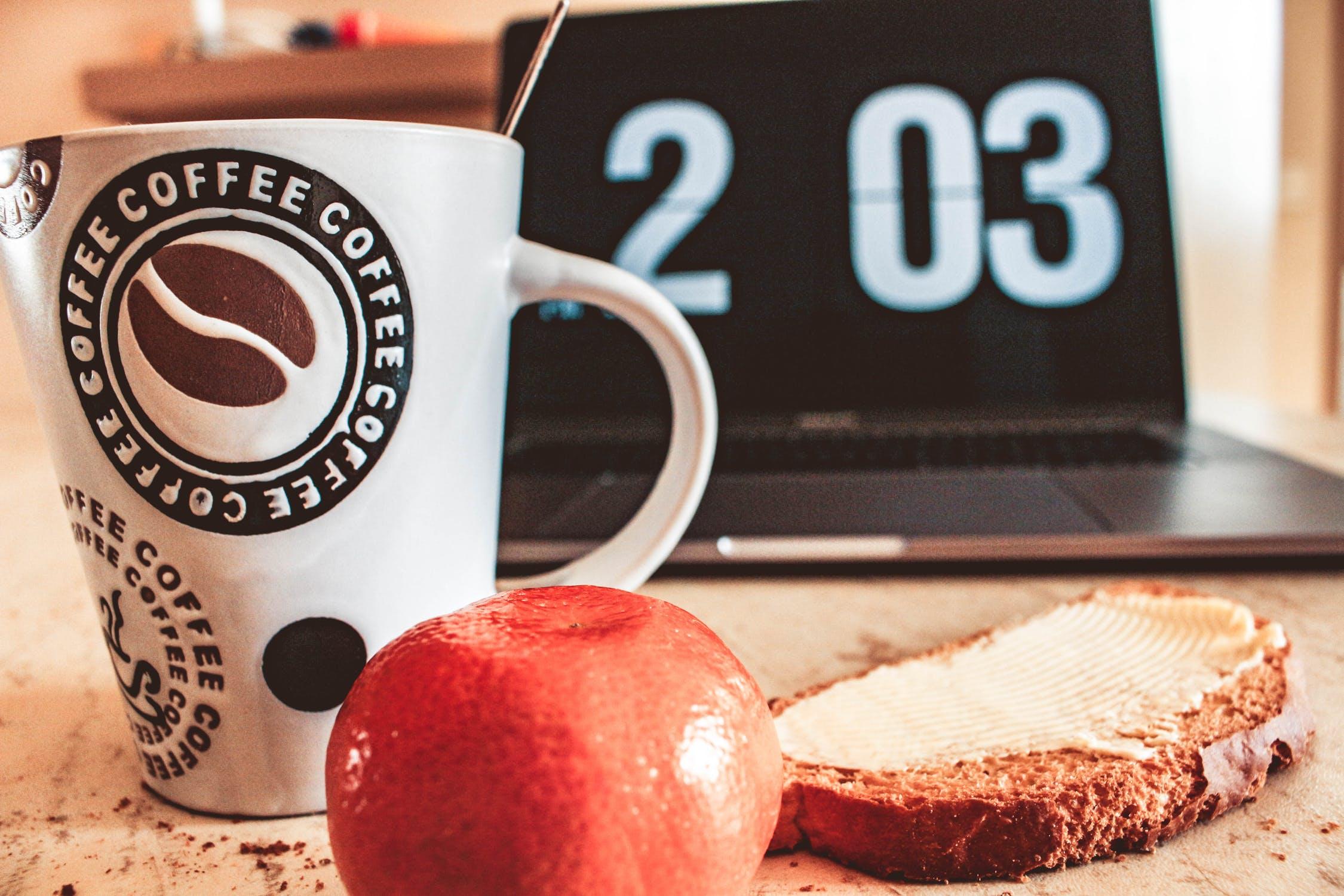 breakfast, productivity, bread, apple, coffee